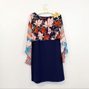 Desigual Navy Blue Bright Floral Cape Dress